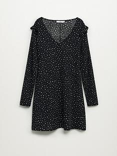 mango-frilled-sleeve-polka-dot-dress-print