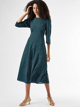 dorothy-perkins-spot-empire-midi-dress--nbspgreenblack