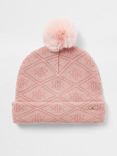 river-island-mini-girls-monogram-knitted-beanie-pink