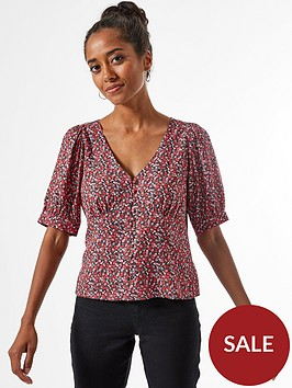 dorothy-perkins-petite-ditsy-button-through-top-red