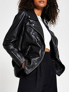 river-island-premium-longline-leather-biker-jacket-black