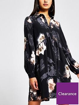 river-island-floral-print-smock-shirt-dress-black