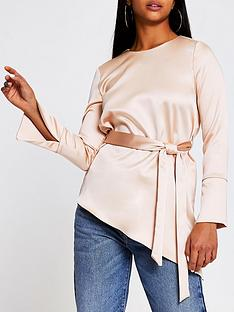 ri-petite-asymmetric-side-tie-top-nude