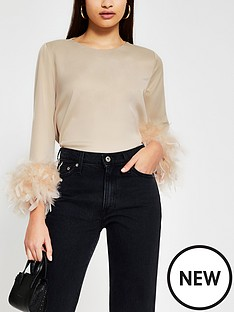 river-island-faux-feather-hem-top-stone