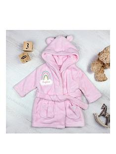 personlaised-rainbow-motif-pink-dressing-gown