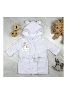 personalised-rainbow-motif-white-dressing-gown
