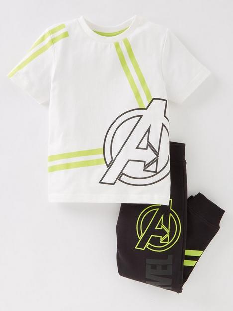 marvel-boysnbsp2-piece-marvel-logo-short-sleevenbspt-shirtnbspand-joggers-set-white