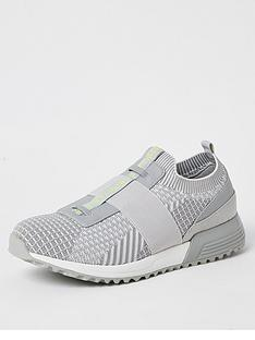 river-island-mcmlx-grey-elasticated-knitted-trainers