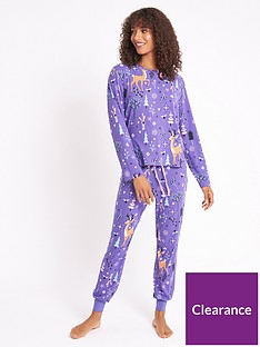 chelsea-peers-nyc-christmas-reindeer-recycled-long-pj-set-blue