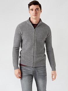 burton-menswear-london-mid-gauge-zip-through-jumper-grey