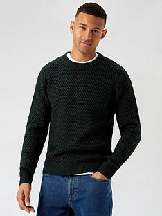 burton-menswear-london-chunky-crew-neck-jumper-green