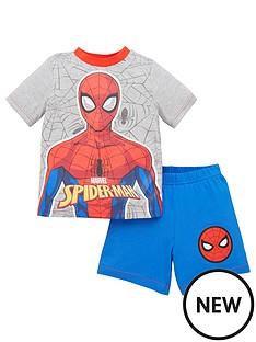 spiderman-boys-back-print-detail-shorty-pjs-grey