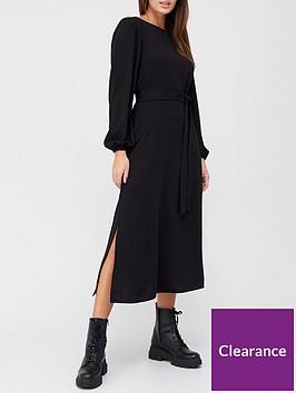 v-by-very-blouson-sleeve-tie-waist-midi-dress-black