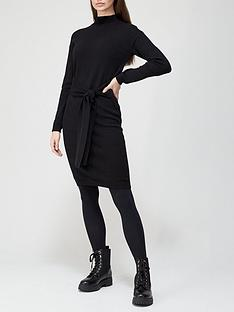 v-by-very-tie-waist-midi-knitted-dress-black