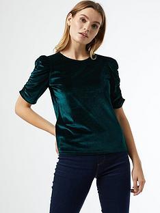 dorothy-perkins-ruched-sleeve-velvet-tee-green