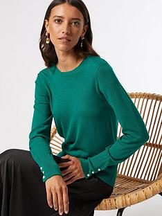 dorothy-perkins-sustainablenbsppearl-cuff-crew-neck-jumper--nbspgreen