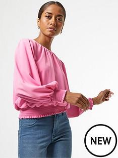 dorothy-perkins-petite-shirred-hem-top-pink