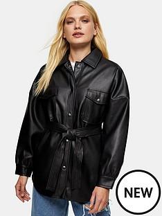 topshop-carlos-pu-tie-jacket-black