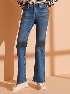 superdry-mid-rise-slim-flare-jeans-blue