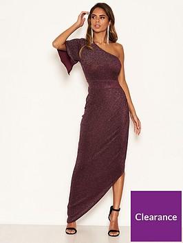 ax-paris-one-shoulder-sparkle-dress-plum