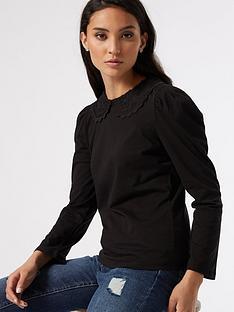 dorothy-perkins-petite-collar-detail-top-black