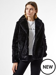 dorothy-perkins-collar-and-revere-textured-faux-fur-coat-blacknbsp