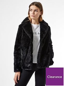 dorothy-perkins-collar-and-revere-textured-faux-fur-coat-blacknbsp