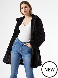 dorothy-perkins-funnel-collar-textured-longline-faux-fur-coat-blacknbsp