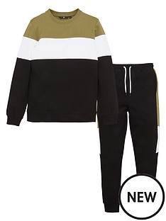 v-by-very-boys-colour-block-sweat-ampnbspjogger-set-khaki