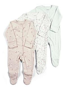 mamas-papas-baby-girls-3-pack-ditsy-floral-sleepsuits-multi