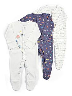 mamas-papas-baby-boys-3-pack-cars-sleepsuits-blue