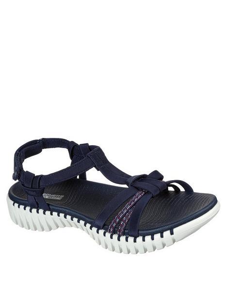 skechers-go-walk-smart-lycra-strap-flat-sandal-navy