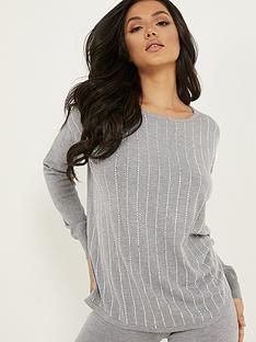 quiz-knit-diamante-line-jumper-greynbsp