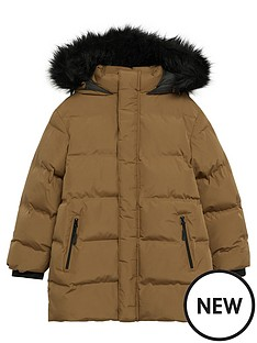 mango-boys-faux-fur-trim-padded-coat-brown