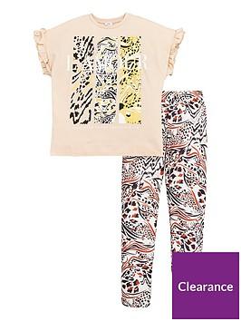 river-island-girls-2-piecenbsplamour-animal-print-short-sleeve-t-shirt-and-leggingsnbspset-brown