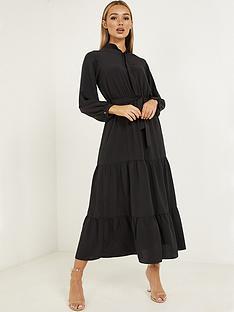 quiz-chiffon-tiered-button-front-midaxi-dress-black