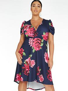 quiz-curve-floral-dip-hem-wrap-dress-navy