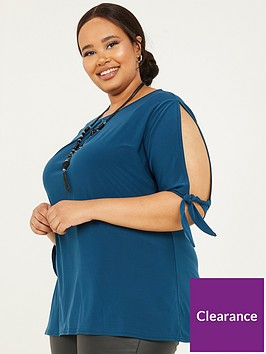 quiz-curve-ity-tie-detail-cold-shoulder-necklace-top-teal