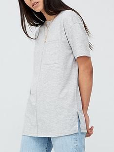 v-by-very-pocket-side-split-longline-t-shirt-grey