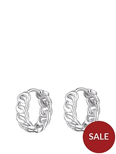 the-love-silver-collection-sterling-silver-interlinking-chain-style-huggie-hoop-earrings