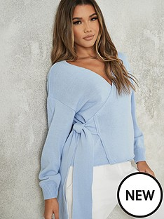 missguided-missguided-wrap-front-cardigan-blue
