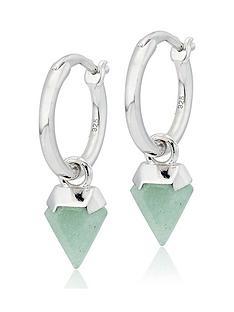 beaverbrooks-silver-aventurine-charm-hoop-earrings