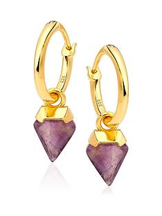 beaverbrooks-18ct-gold-plated-silver-amethyst-charm-hoop-earrings