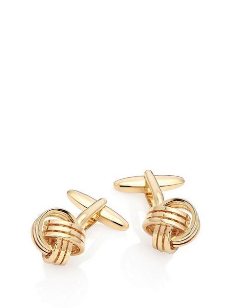 beaverbrooks-gold-tone-knot-mens-cufflinks