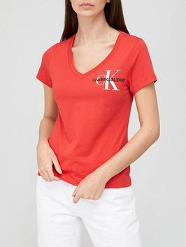 calvin-klein-jeans-short-sleevenbspv-neck-monogram-t-shirt-red