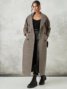 missguided-missguided-heritage-check-oversized-coat-brown