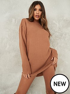missguided-missguided-high-neck-ribbed-dress-brown