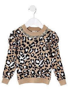 river-island-mini-mini-girls-puff-sleeve-leopard-knitted-jumper--nbspbeige