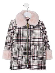 river-island-mini-mini-girls-check-faux-fur-collar-coatnbsp-nbspecru