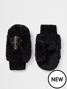 river-island-mini-girls-ri-faux-fur-mittens-black